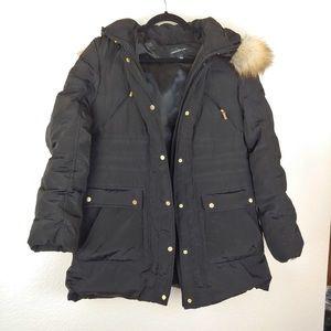 Jones New York Black Puffer Fur Hood Jacket